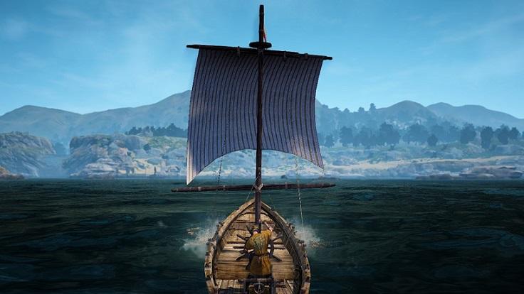 陸に向かって舟を操縦