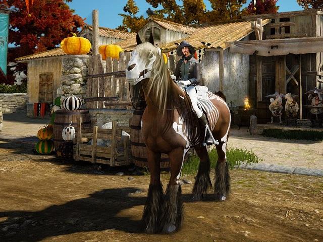 スケルトン馬具セットを装備した7世代馬の画像