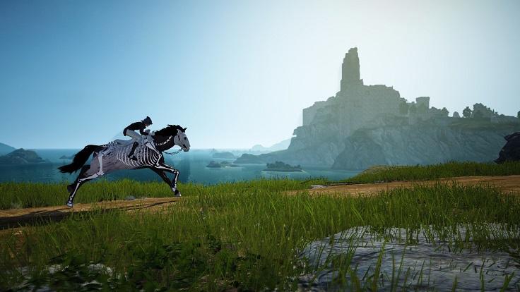 海を背景に走る6世代馬