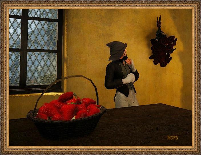 イチゴカゴと乾燥バラの束