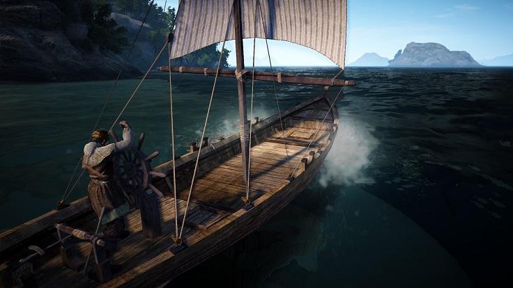 舟を操縦するおじいさん
