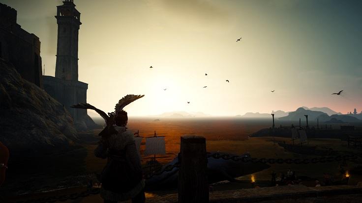 夜明けのエフェリア港町から見る海