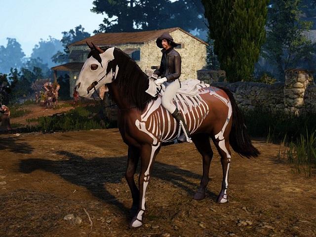 スケルトン馬具セットを装備した1世代馬の画像