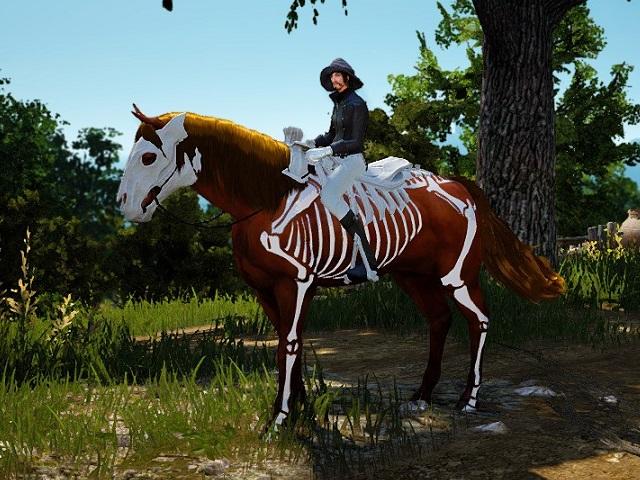 スケルトン馬具セットを装備した2世代馬の画像