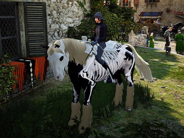 スケルトン馬具セットを装備した3世代馬の画像