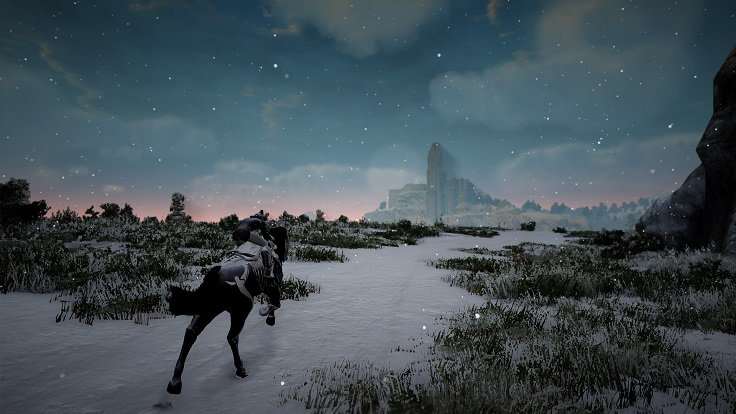 雪の中オルビア村からべリア村まで馬で移動