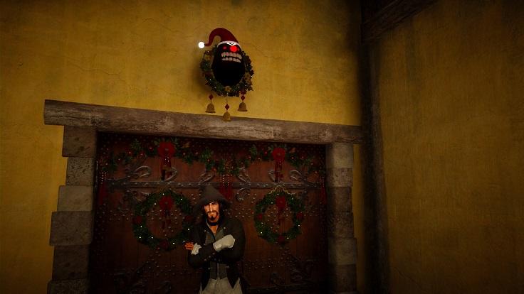 ドアの上に「[EV]クリスマス闇の精霊の顔」を設置