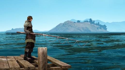 銀刺繍釣り人の服+1を着て釣り