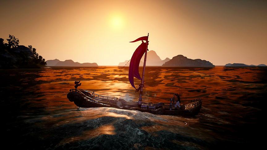 漁船でのんびり航海中