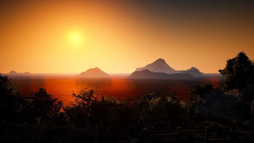 レマ島から眺める夕日