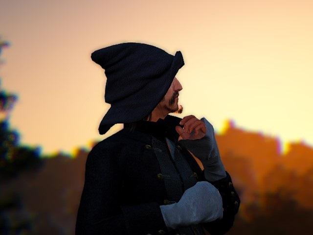ベニア乗馬服とトンガリ帽子