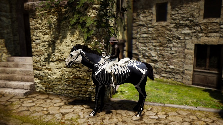 スケルトン馬具セットを装着した4世代モヒカン紺色馬の画像