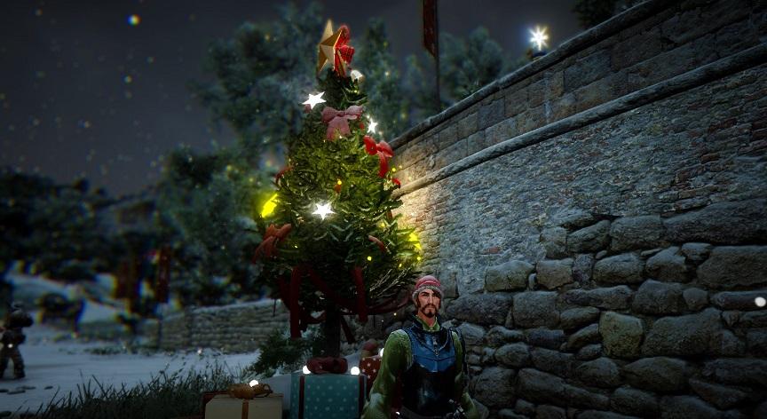 べリア村入口のクリスマス・ツリー