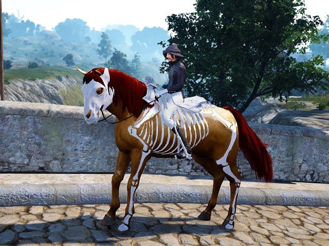 スケルトン馬具セットを装備した5世代馬