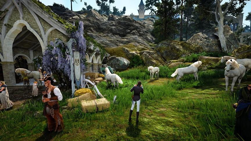 グラナの厩舎にいる白馬たち