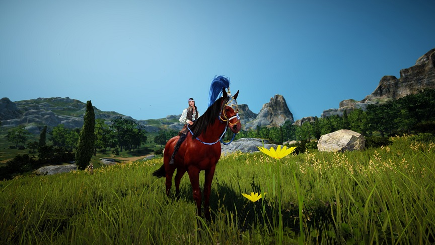 テルミアン羽毛馬面を装着した赤茶色の5世代馬