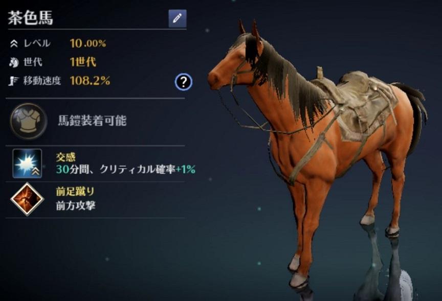 黒い砂漠MOBILEの茶色馬(1世代)